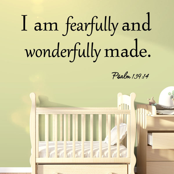 VWAQ I Am Fearfully and Wonderfully Made Psalm 139:14 Wall Decal - VWAQ Vinyl Wall Art Quotes and Prints