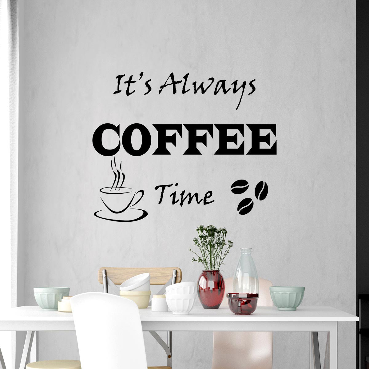 VWAQ Its Always Coffee Time Wall Decals Vinyl Quotes for Kitchen Wall Sticker Sayings - VWAQ Vinyl Wall Art Quotes and Prints