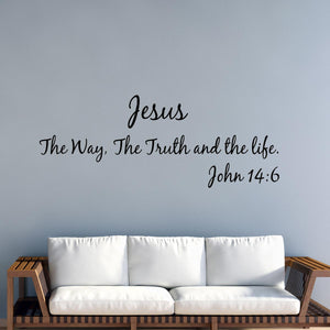 VWAQ Jesus The Way, The Truth And The Life - John 14 6 Vinyl Decal Bible Verses For Wall