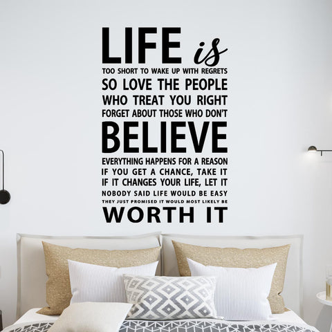 VWAQ Life Is Too Short To Wake Up With Regrets Vinyl Wall Decal