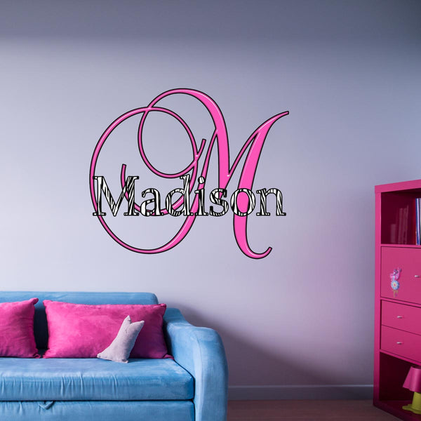 VWAQ Custom Monogram Zebra Print Name Decal Personalized Name Zebra Pattern Wall Decor - MC6 - VWAQ Vinyl Wall Art Quotes and Prints