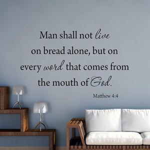 VWAQ Man Shall Not Live By Bread Alone Matthew 4:4 Bible Wall Decal - VWAQ Vinyl Wall Art Quotes and Prints