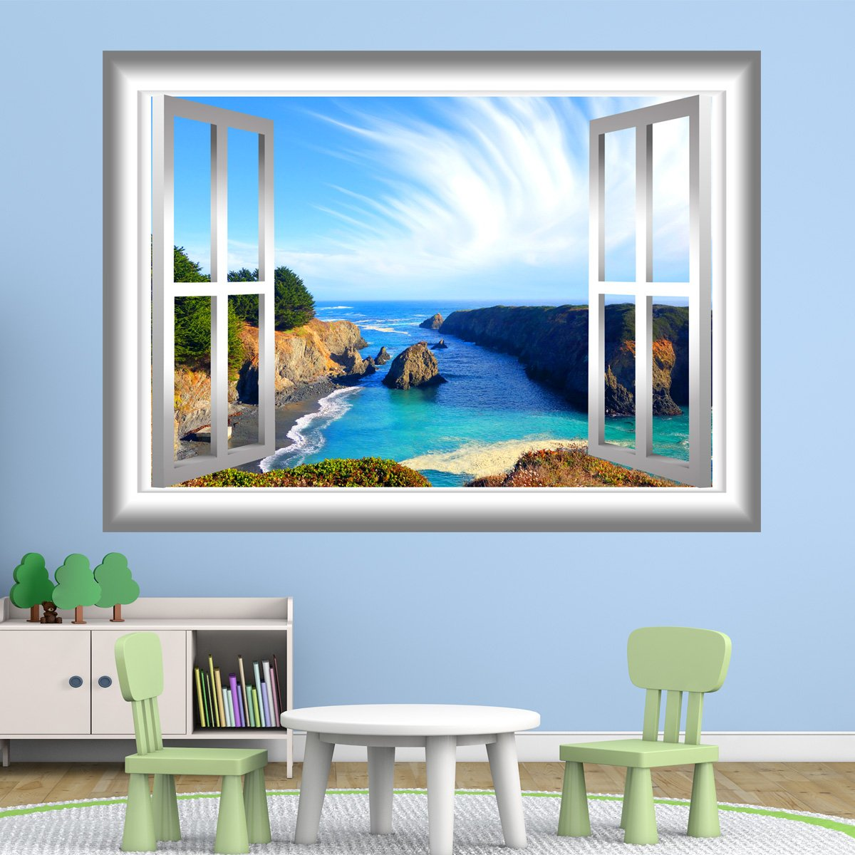 VWAQ Scenic Ocean View Peel and Stick Window Frame Vinyl Wall Decal