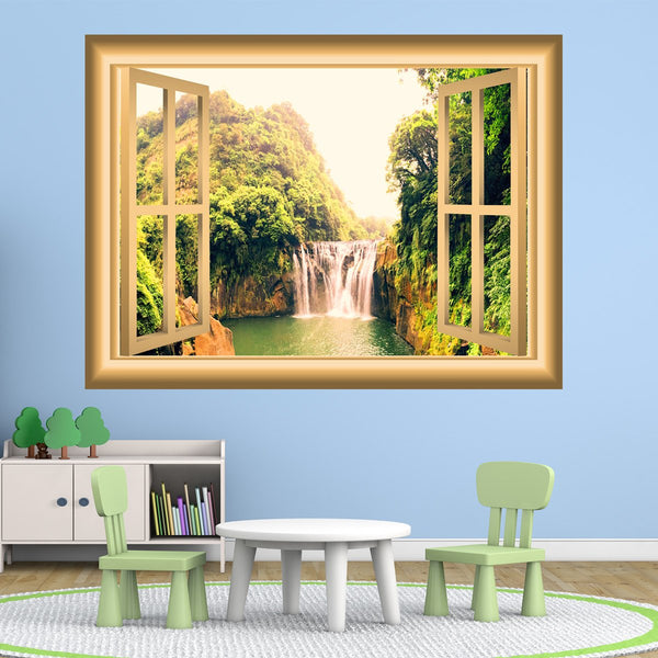 VWAQ Waterfall Window Decal 3D Wall Sticker Peel And Stick Mural