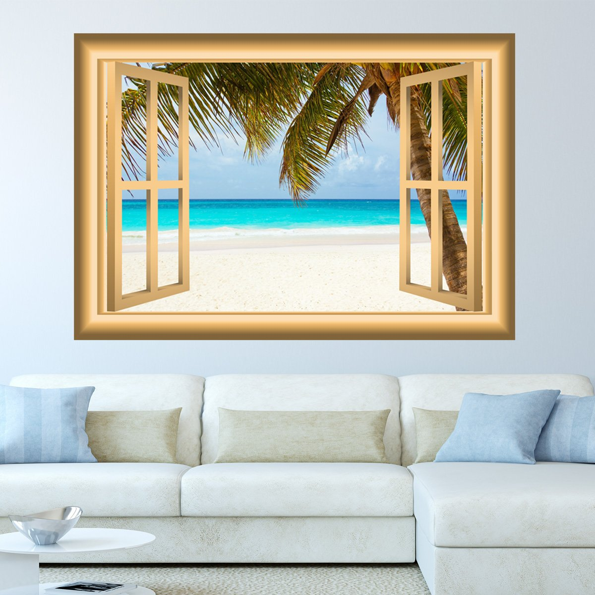VWAQ Window Frame Wall Decal Beach Scene Ocean Peel and Stick Mural