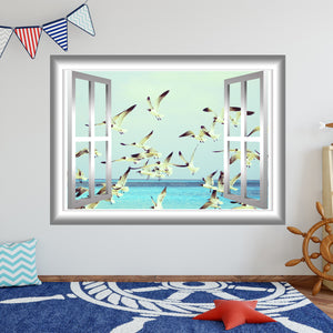 VWAQ Peel and Stick Flock of Seagulls Window Frame Vinyl Wall Decal - NW73