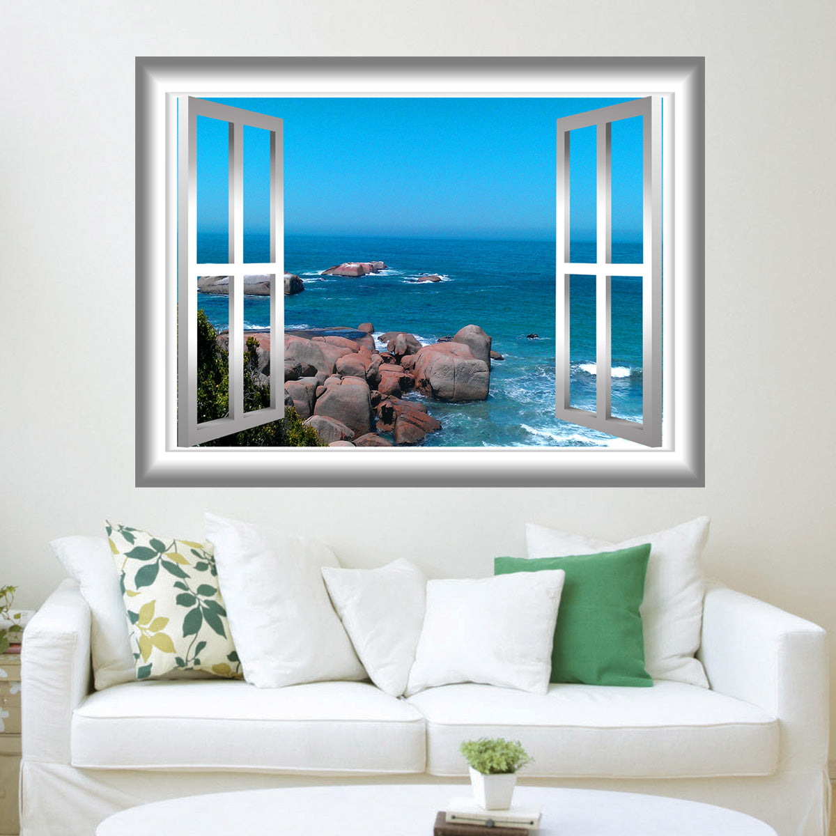VWAQ Ocean Scene Rocky Beach Peel and Stick Window Frame Vinyl Wall Decal - NW74 - VWAQ Vinyl Wall Art Quotes and Prints
