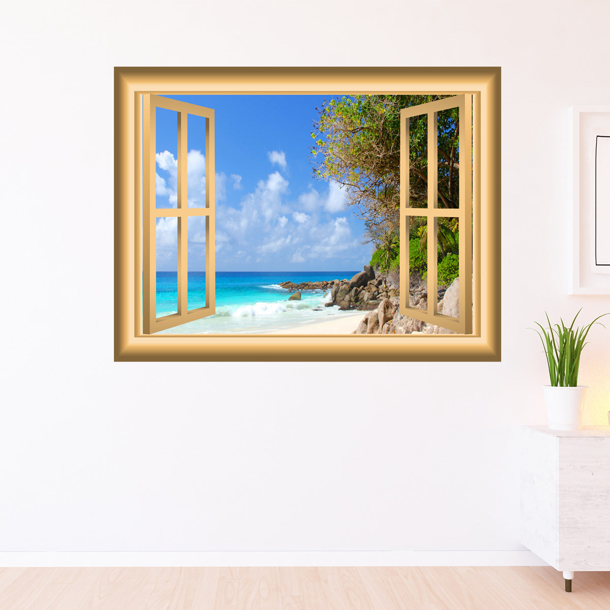 VWAQ Coastline Beach Scene Peel and Stick Window Frame Wall Decal - NW81 - VWAQ Vinyl Wall Art Quotes and Prints