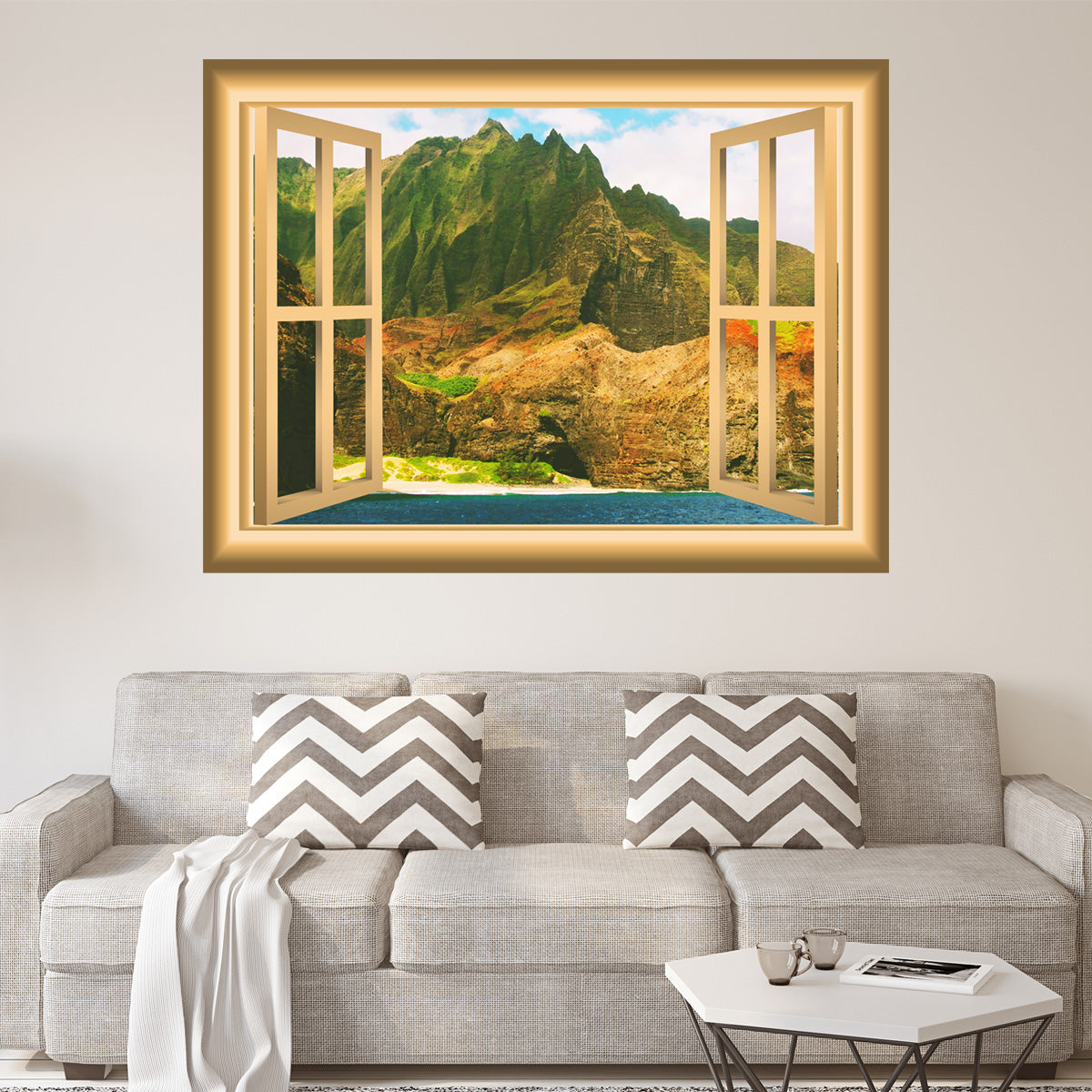 VWAQ Mountain Peel and Stick Wall Art Window Frame Wall Decal - NW85