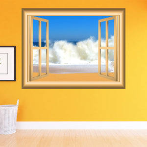 VWAQ Ocean Waves Window Frame Peel and Stick Vinyl Wall Decal - NW87