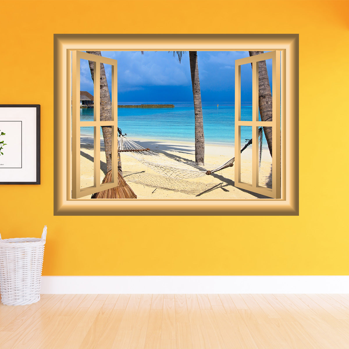 3D Window Frame Peel and Stick Mural Wall Art Beach Scene Wall Decal Removable