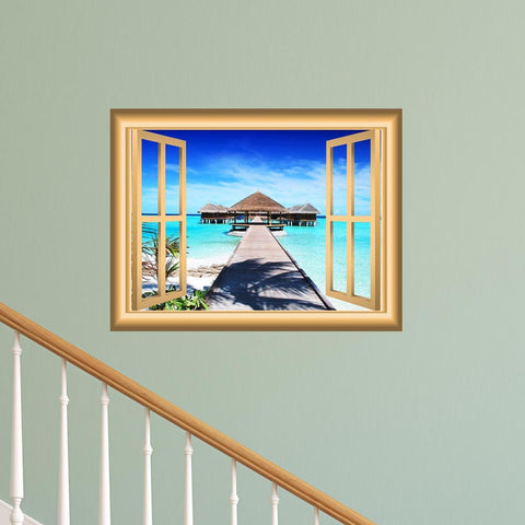 VWAQ Ocean Beach Hut Peel and Stick Window Frame Wall Decal