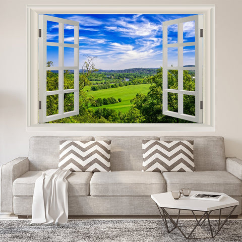 VWAQ Vinyl Nature Window Wall Decal - Grassy Field Scenic Mural Wall Decor NWT1