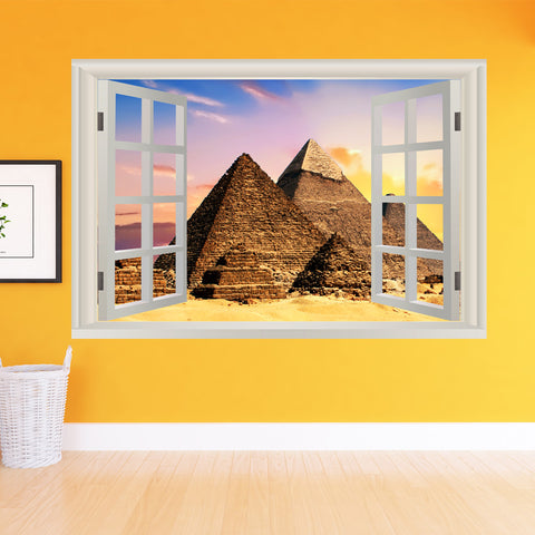 VWAQ Peel And Stick Egyptian Pyramids Wall Mural - 3D Window View Wall Decal Sticker - NWT2