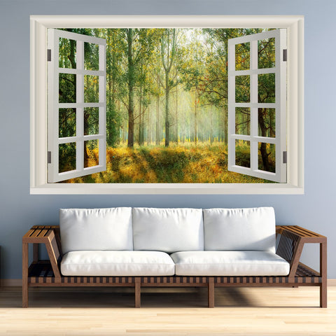 VWAQ Landscape Wall Decals Window - Nature Scene Vinyl Mural For Wall - NWT4