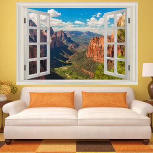 VWAQ Landscape Peel And Stick 3D Wall Mural - Zion National Park Vinyl Wall Art Decal Sticker - NWT6 - VWAQ Vinyl Wall Art Quotes and Prints