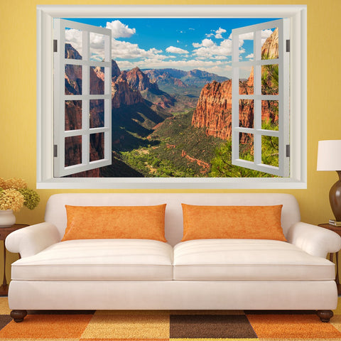 VWAQ Landscape Peel And Stick 3D Wall Mural - Zion National Park Vinyl Wall Art Decal Sticker - NWT6
