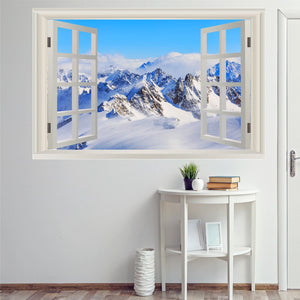 VWAQ Snow Wall Decor Sticker - 3D Window Decal, Snowy Mountain Wall Art - NWT7