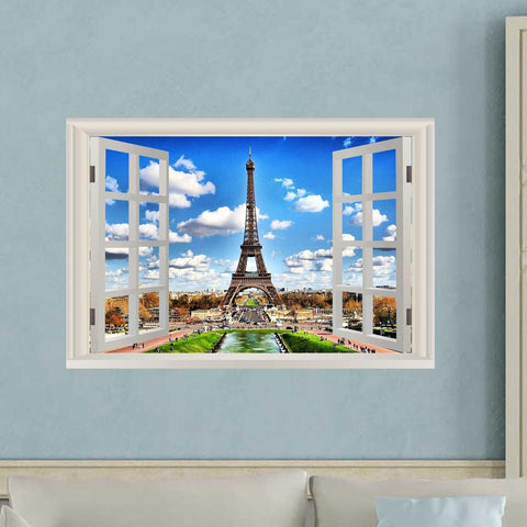 VWAQ Eiffel Tower Wall Stickers For Bedroom - Paris Window Wall Decal - NWT8 - VWAQ Vinyl Wall Art Quotes and Prints