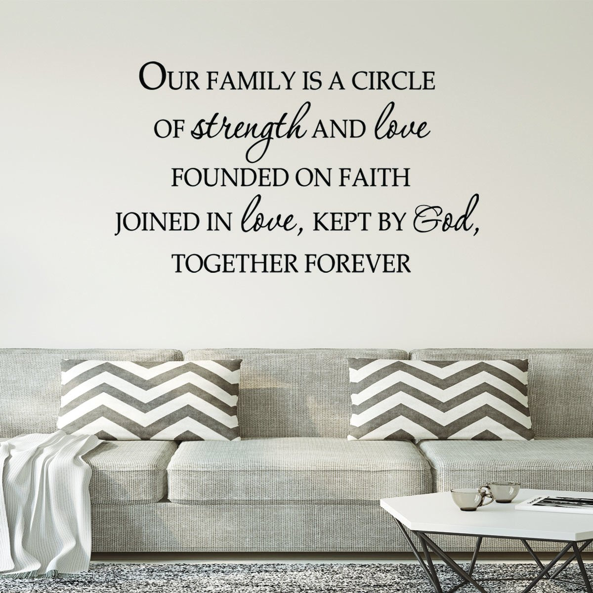 VWAQ Our Family is a Circle of Strength and Love Vinyl Wall Decal - VWAQ Vinyl Wall Art Quotes and Prints