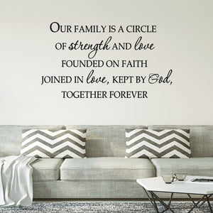 VWAQ Our Family is a Circle of Strength and Love Vinyl Wall Decal