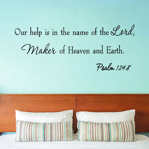 VWAQ Our Help is in the Name of the Lord Psalm 124:8 Vinyl Wall Decal - VWAQ Vinyl Wall Art Quotes and Prints