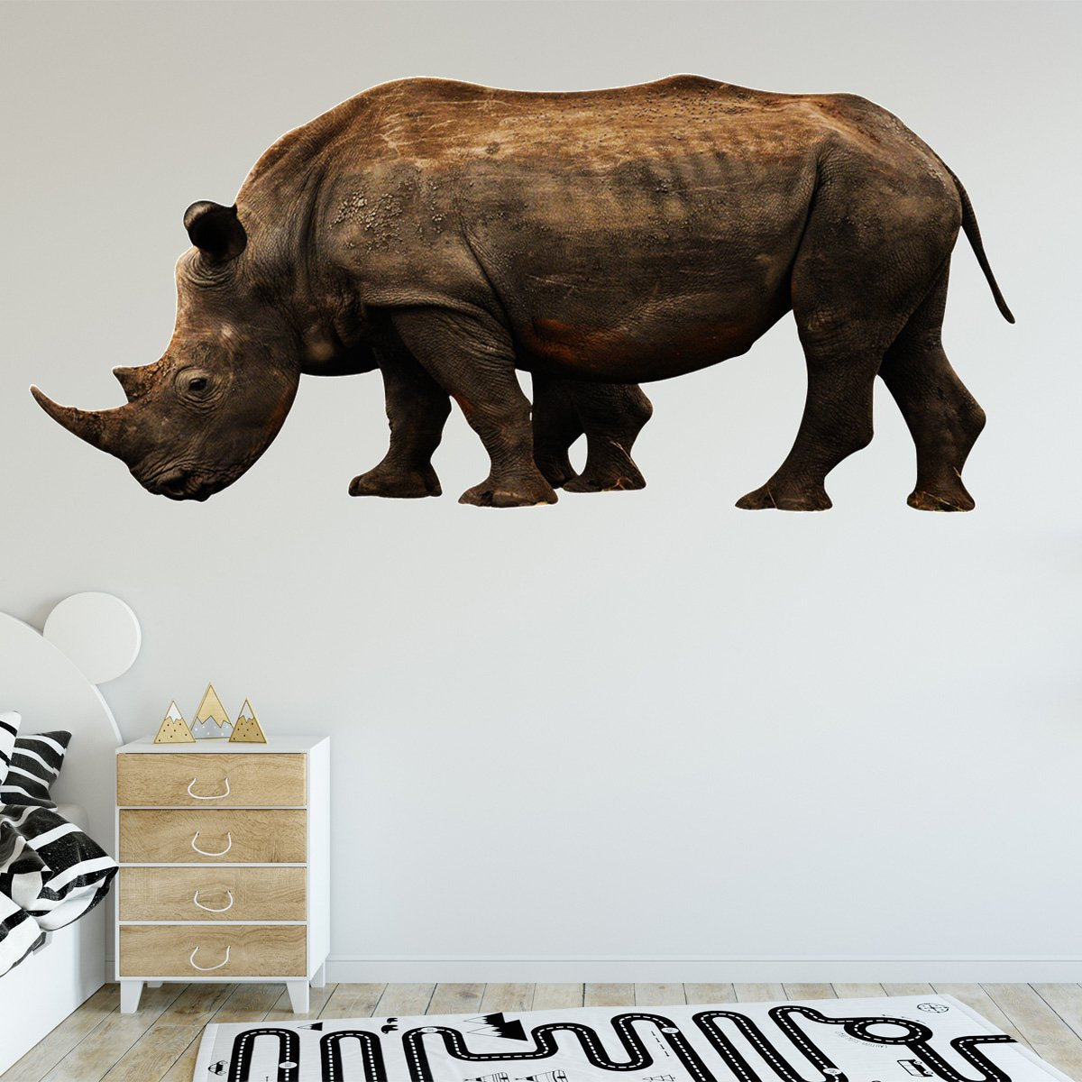 VWAQ Rhino Vinyl Wall Sticker - Rhinoceros Decor, Realistic Animal Wall Decals
