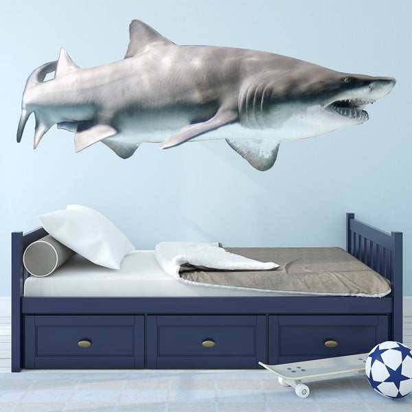 VWAQ Sand Shark Wall Decal Peel & Stick Realistic Shark Ocean Life Decor