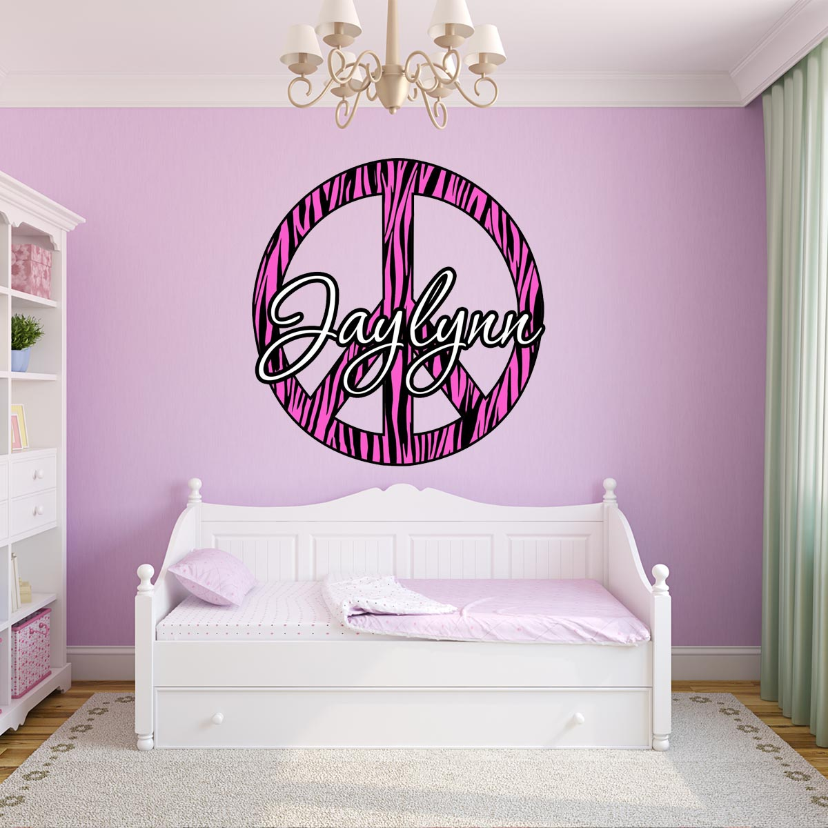 VWAQ Pink Custom Name Peace Sign Zebra Print Wall Decal - PC3 - VWAQ Vinyl Wall Art Quotes and Prints