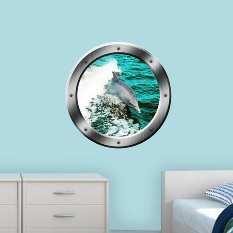 VWAQ Dolphin Porthole Wall Decal Ocean Wall Sticker Animal Nature View Family Wall Decal - PO3 - VWAQ Vinyl Wall Art Quotes and Prints