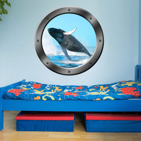 VWAQ Breaching Whale View Sea Porthole Peel and Stick Vinyl Wall Decal - PO6 - VWAQ Vinyl Wall Art Quotes and Prints