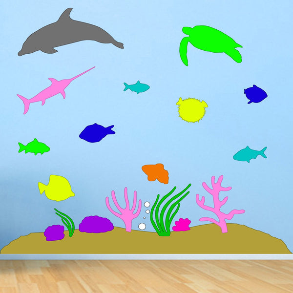 VWAQ Under the Sea Peel & Stick Ocean Life Colorful Wall Decals
