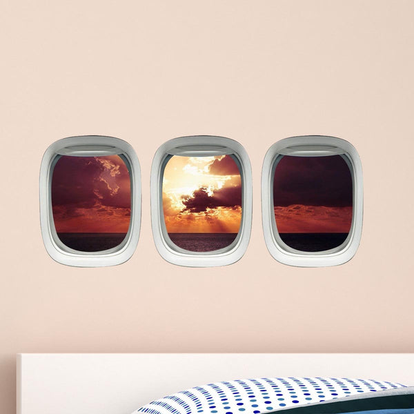 VWAQ Pack of 3 Airplane Window Sunset Scene Vinyl Wall Decals - VWAQ Vinyl Wall Art Quotes and Prints