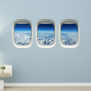 VWAQ Plane Window Decals Airplane Porthole Snowy Mountain Wall Stickers Aviation Decor