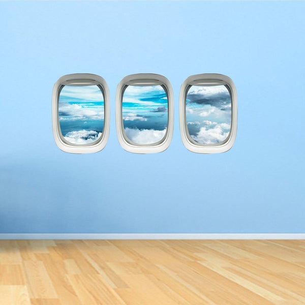 VWAQ Airplane Window Decals Peel and Stick Pack of 3 Windows - PPW38 - VWAQ Vinyl Wall Art Quotes and Prints