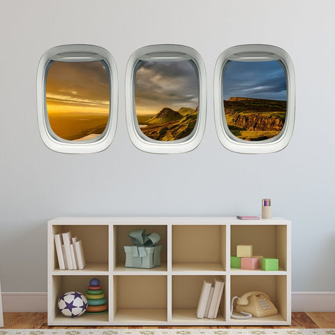 VWAQ Pack of 3 Nature Scenery Aviation Decor Airplane Windows Wall Decals Porthole (PPW3)