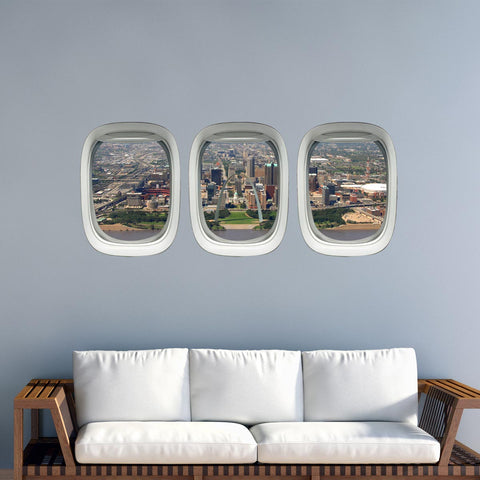VWAQ St. Louis Arch Airplane Window View Wall Decals - PPW46