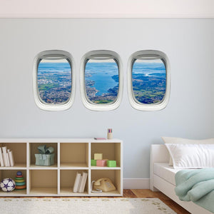 VWAQ Pack of 3 Airplane Window Landscape View Peel and Stick Vinyl Wall Decals