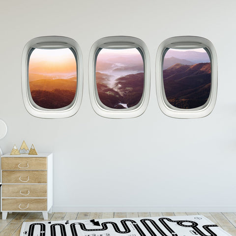 VWAQ Pack of 3 Landscape Wall Stickers Airplane Window Decals Kids Room Decor - PPW7 - VWAQ Vinyl Wall Art Quotes and Prints