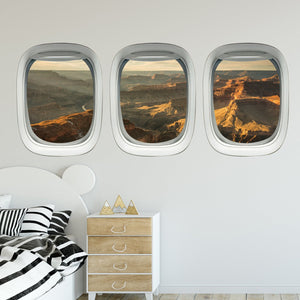 VWAQ Pack of 3 Grand Canyon Wall Sticker For Boys Room Aviation Decals