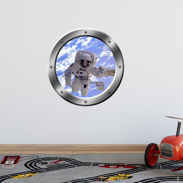 Astronaut Wall Decals For Kids - 3D Outer Space Porthole Stickers For Wall, Spaceman Decal - PS15 - VWAQ Vinyl Wall Art Quotes and Prints