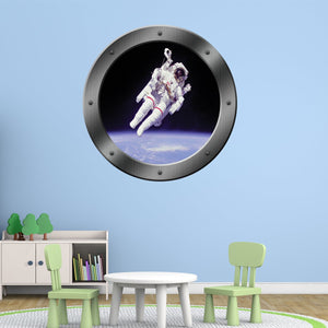 VWAQ Peel and Stick Astronaut in Space Porthole Vinyl Wall Decal