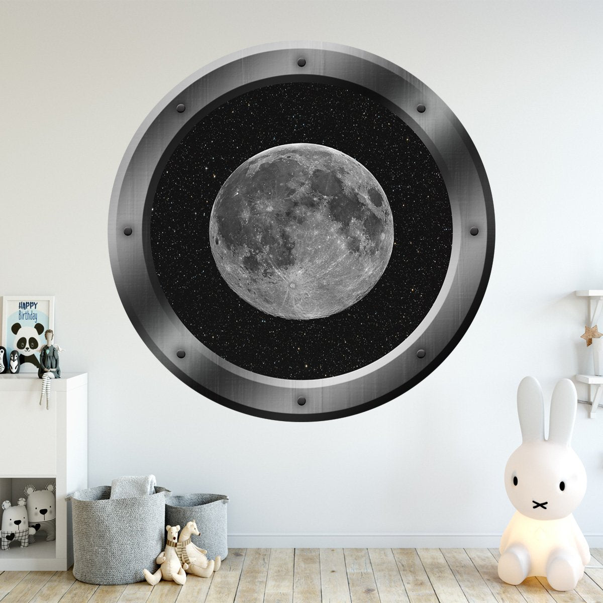 Space Ship Window Porthole Moon View Peel N Stick Vinyl Wall Decal