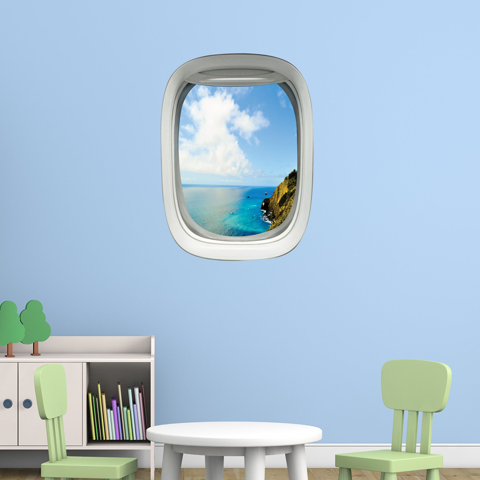 VWAQ Peel and Stick Airplane Window Ocean Mountainside View Vinyl Wall Decal - PW15
