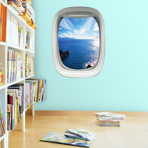Airplane Window Aerial Ocean View Peel and Stick Vinyl Wall Decal - PW16 - VWAQ Vinyl Wall Art Quotes and Prints