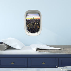 Airplane Window City View Peel and Stick Vinyl Wall Decal - PW3 - VWAQ Vinyl Wall Art Quotes and Prints