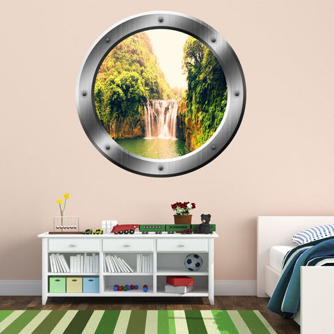 VWAQ Jungle Waterfall Scene Silver Porthole Peel and Stick Vinyl Wall Decal - SP13 - VWAQ Vinyl Wall Art Quotes and Prints