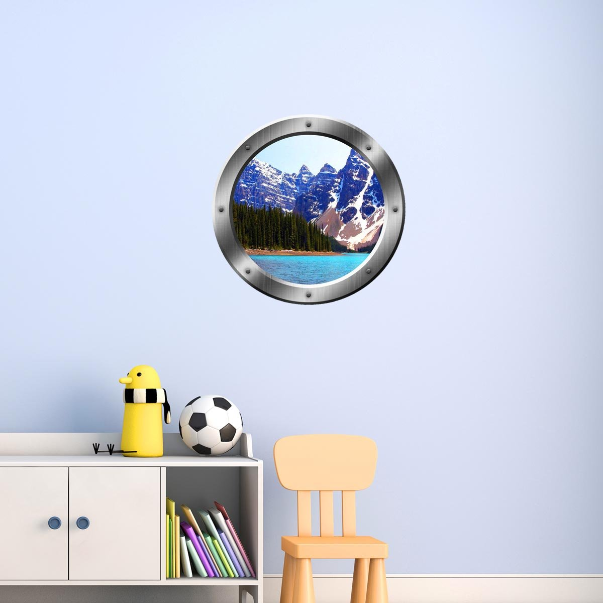 VWAQ Peel & Stick Snowy Mountain Lake View Silver Porthole Vinyl Wall Decal - SP21 - VWAQ Vinyl Wall Art Quotes and Prints