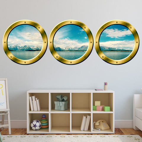 VWAQ 3D Ocean View Wall Clings, Porthole Window For Wall - Landscape Vinyl Sticker - SPW21 - VWAQ Vinyl Wall Art Quotes and Prints
