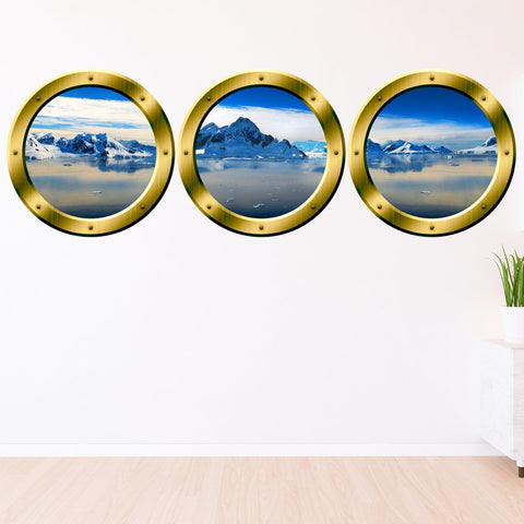 VWAQ Gold Porthole Window Decals For Wall, Arctic Wall Decal - Glacier Wall Art